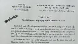 benh vien cho ray tam dung hoat dong mot so khoa kham benh phong covid 19